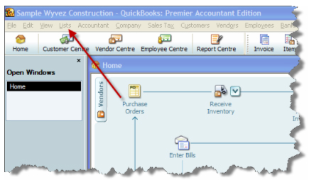 Double-click List in Quickbooks